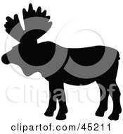 Royalty Free RF Clipart Illustration Of A Profiled Black Moose Silhouette by JR