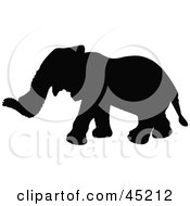 Royalty Free RF Clipart Illustration Of A Profiled Black Elephant Silhouette by JR