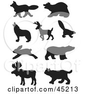Royalty Free RF Clipart Illustration Of A Digital Collage Of Profiled Black Forest Animal Silhouettes