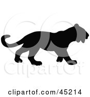 Royalty Free RF Clipart Illustration Of A Profiled Black Panther Silhouette by JR