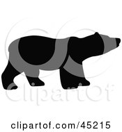 Royalty Free RF Clipart Illustration Of A Profiled Black Sniffing Bear Silhouette by JR