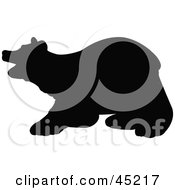 Royalty Free RF Clipart Illustration Of A Profiled Black Bear Silhouette by JR