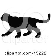 Royalty Free RF Clipart Illustration Of A Profiled Black Puma Silhouette by JR