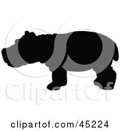 Royalty Free RF Clipart Illustration Of A Profiled Black Hippo Silhouette