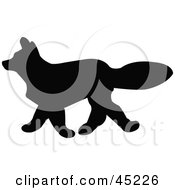 Royalty Free RF Clipart Illustration Of A Profiled Black Fox Silhouette by JR