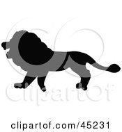 Royalty Free RF Clipart Illustration Of A Profiled Black Lion Silhouette by JR