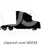 Royalty Free RF Clipart Illustration Of A Profiled Black Big Rig Silhouette