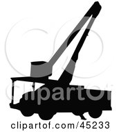 Royalty Free RF Clipart Illustration Of A Profiled Black Utility Truck Silhouette