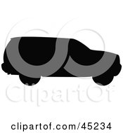 Royalty Free RF Clipart Illustration Of A Profiled Black SUV Silhouette by JR