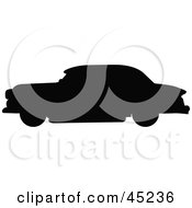 Royalty Free RF Clipart Illustration Of A Profiled Black Vintage Car Silhouette