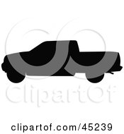 Royalty Free RF Clipart Illustration Of A Profiled Black Pickup Truck Silhouette