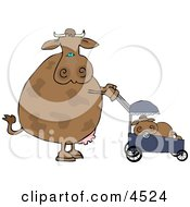 Mom Cow Pushing Her Calf In A Baby Stroller Clipart