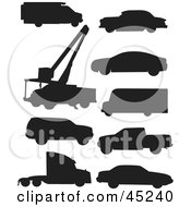 Royalty Free RF Clipart Illustration Of A Digital Collage Of Black Vehicle Silhouettes