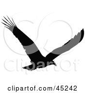 Royalty Free RF Clipart Illustration Of A Profiled Black Soaring Eagle Silhouette by JR