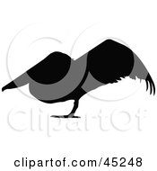 Royalty Free RF Clipart Illustration Of A Profiled Black Resting Pelican Silhouette by JR