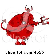 Male Devil Cow Holding A Pitchfork Clipart by Dennis Cox