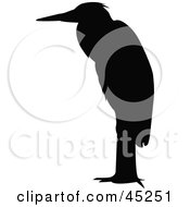 Royalty Free RF Clipart Illustration Of A Profiled Black Perched Egret Silhouette by JR