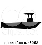 Profiled Black Fishing Boat With Canopy Silhouette