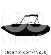 Royalty Free RF Clipart Illustration Of A Profiled Black Personal Boat Silhouette by JR