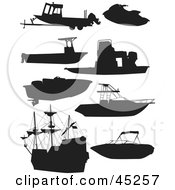Digital Collage Of Black Boat And Ship Silhouettes