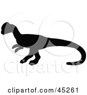 Royalty Free RF Clipart Illustration Of A Profiled Black Homalocephale Dinosaur Silhouette by JR