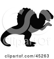 Royalty Free RF Clipart Illustration Of A Profiled Black Ouranosaurus Dinosaur Silhouette by JR