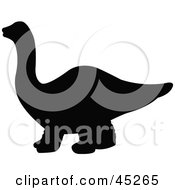Royalty Free RF Clipart Illustration Of A Profiled Black Apatosaurus Dinosaur Silhouette by JR