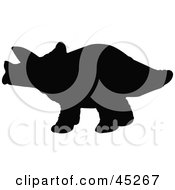 Royalty Free RF Clipart Illustration Of A Profiled Black Triceratops Silhouette by JR