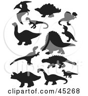 Royalty Free RF Clipart Illustration Of A Digital Collage Of Black Dinosaur Silhouettes by JR