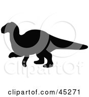 Royalty Free RF Clipart Illustration Of A Profiled Black Yinlong Dinosaur Silhouette by JR