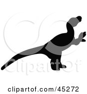 Royalty Free RF Clipart Illustration Of A Profiled Black Dromaeosauridae Dinosaur Silhouette