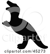 Royalty Free RF Clipart Illustration Of A Profiled Black Tyrannosaurus Rex Dinosaur Silhouette by JR