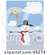 Royalty Free RF Clipart Illustration Of A Warm Sun Shining Down And Melting A Snowman
