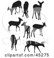 Digital Collage Of Profiled Black Deer Silhouettes