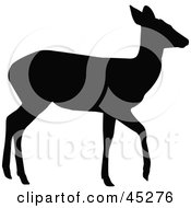 Profiled Black Walking Doe Silhouette