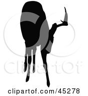 Profiled Black Grazing Buck Silhouette