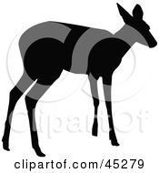 Profiled Black Standing Doe Silhouette