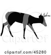 Royalty Free RF Clipart Illustration Of A Profiled Black Walking Buck Silhouette