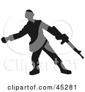 Profiled Green Soldier With Rifle Silhouette