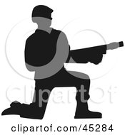 Profiled Green Kneeling Soldier With Gun Silhouette