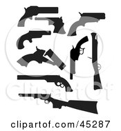 Digital Collage Of Profiled Black Silhouetted Guns