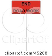 Royalty Free RF Clipart Illustration Of A Red And Black End Road Work Sign by JR