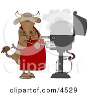 Cow Cooking BBQ On An Outdoor Propane Grill Clipart