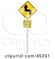 Royalty Free RF Clipart Illustration Of A 25 MPH Curvy Road Advisory Sign by JR