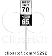 Royalty Free RF Clipart Illustration Of A Speed Limit Sign With Night And Day Speeds by JR