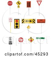 Royalty Free RF Clipart Illustration Of A Digital Collage Of Road And Street Signs