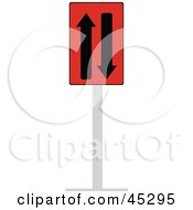Royalty Free RF Clipart Illustration Of A Red And Black Two Way Traffic Sign by JR