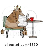 Male Cow Reading The Daily Newspaper With Coffee Clipart