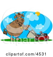 Cow Mowing Lawn On A Hot Summer Day Clipart