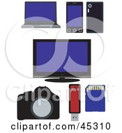 Royalty Free RF Clipart Illustration Of A Digital Collage Of Electronics by JR